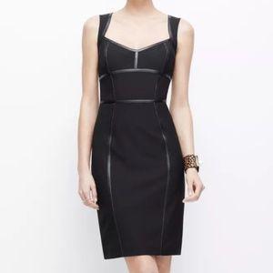 Ann Taylor black sheath dress faux leather 00 B7